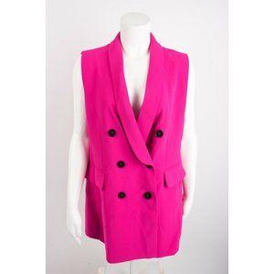 Zara Womens Pink Waistcoat Vest Blazer Dress XS